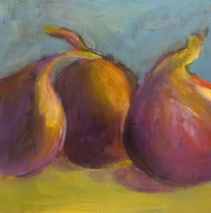 "Study - Three Onions Still Life    8""x8""  Acrylic on Panel"